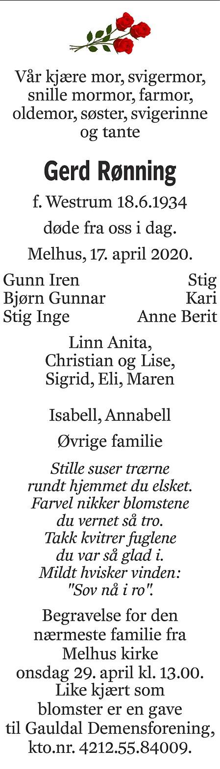 Gerd Rønning Dødsannonse