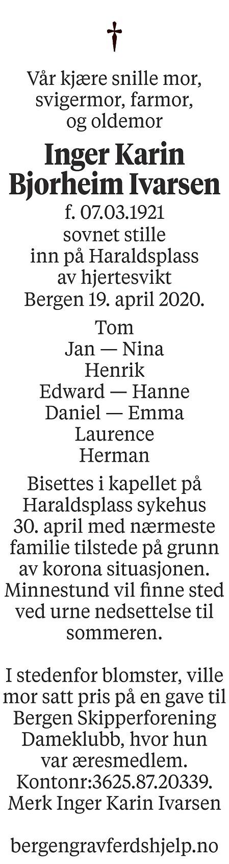 Inger Karin Bjorheim Ivarsen Dødsannonse