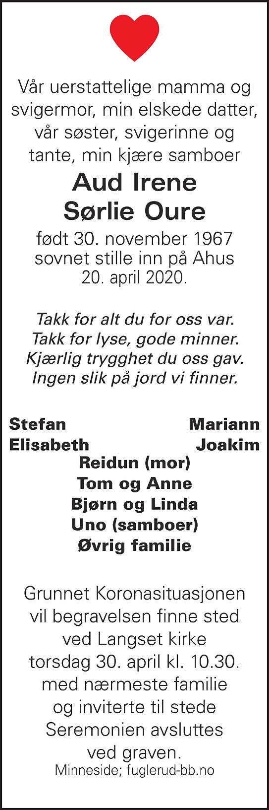 Aud Irene Sørlie Oure Dødsannonse