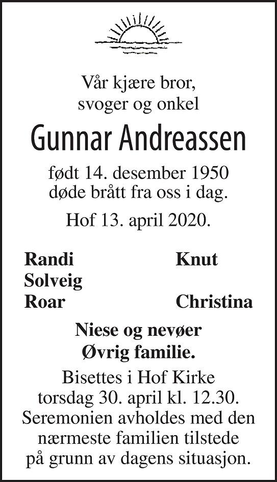 Gunnar Andreassen Dødsannonse