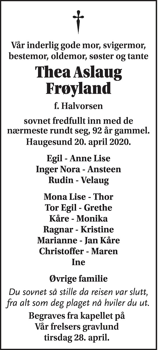 Thea Aslaug Frøyland Dødsannonse