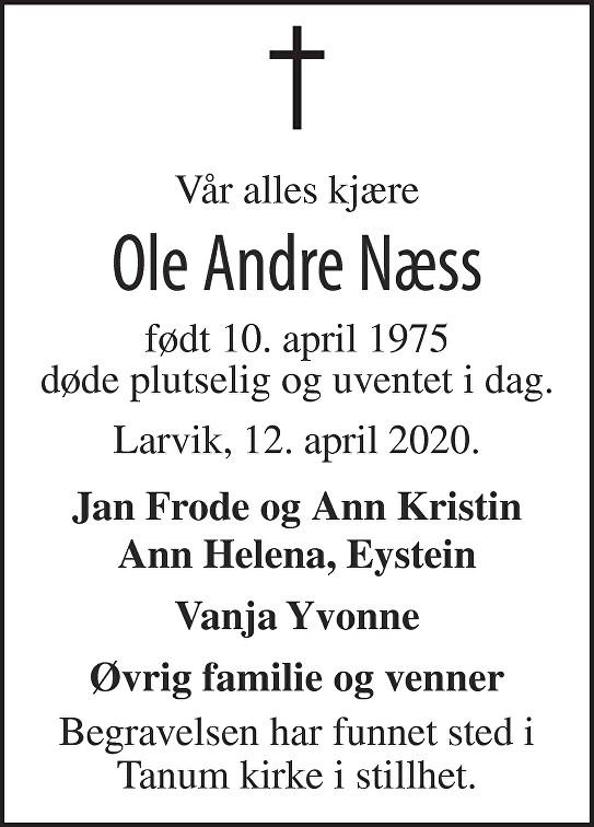 Ole Andre Næss Dødsannonse