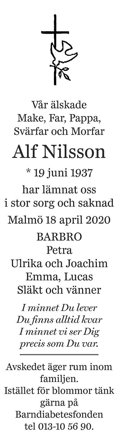 Alf  Nilsson Death notice