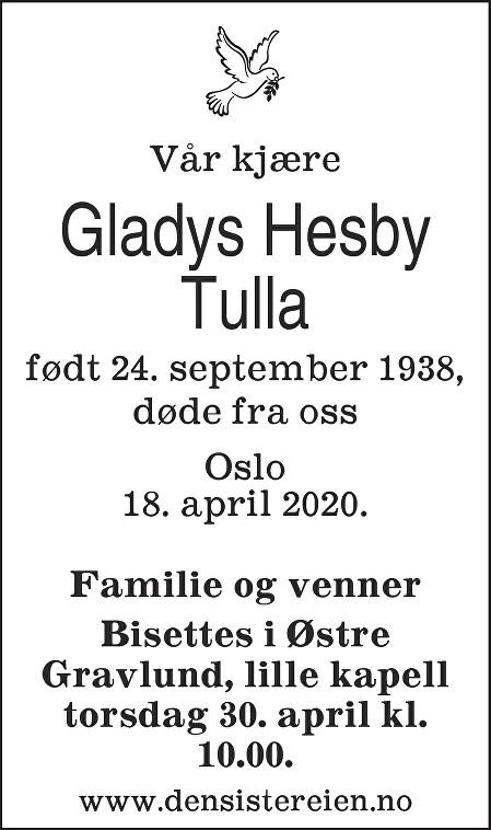 Gladys Hesby Dødsannonse