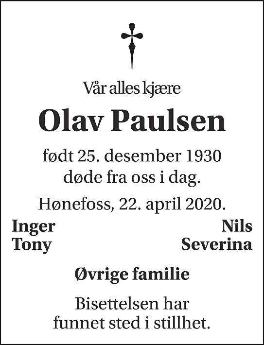 Olav Paulsen Dødsannonse