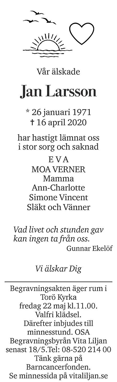 Jan Larsson Death notice