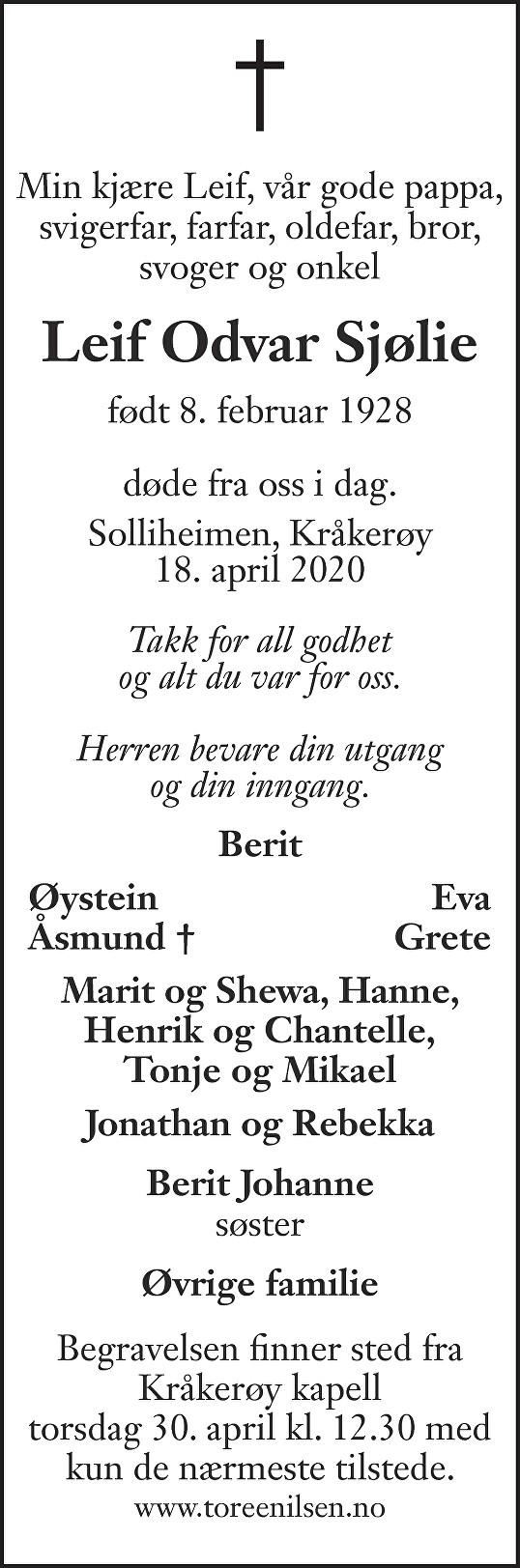 Leif Odvar Sjølie Dødsannonse
