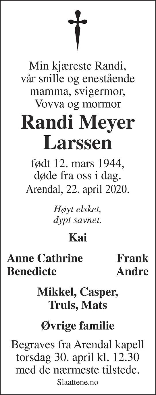 Randi Meyer Larssen Dødsannonse