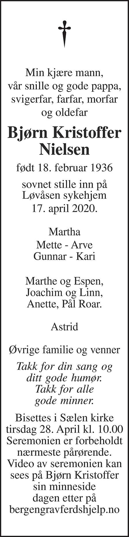 Bjørn Kristoffer Nielsen Dødsannonse