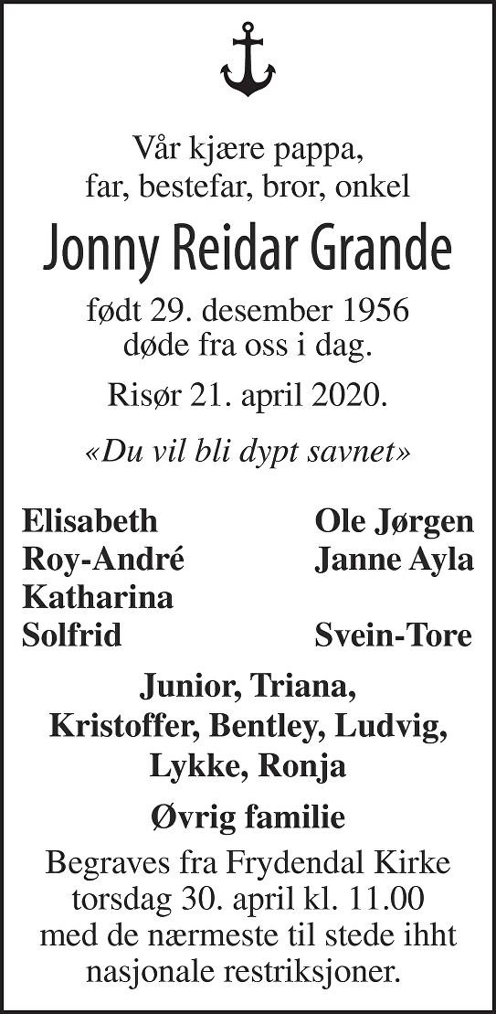 Jonny Reidar Grande  Dødsannonse