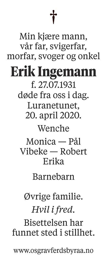 Erik  Ingemann Dødsannonse