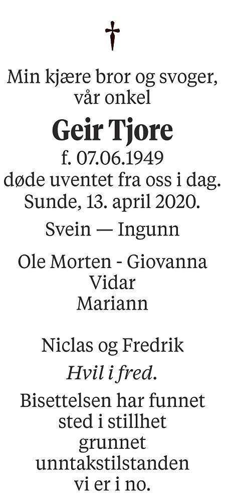 Geir Tjore Dødsannonse