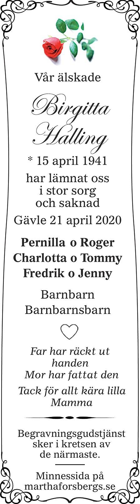 Birgitta Halling Death notice