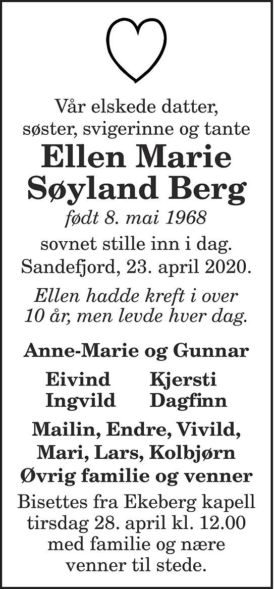 Ellen Marie Søyland Berg Dødsannonse