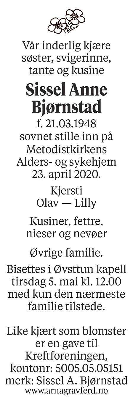 Sissel  Anne Bjørnstad Dødsannonse