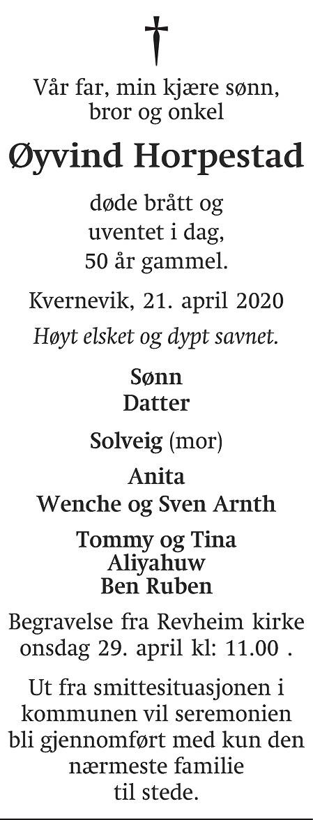 Øyvind Horpestad Dødsannonse