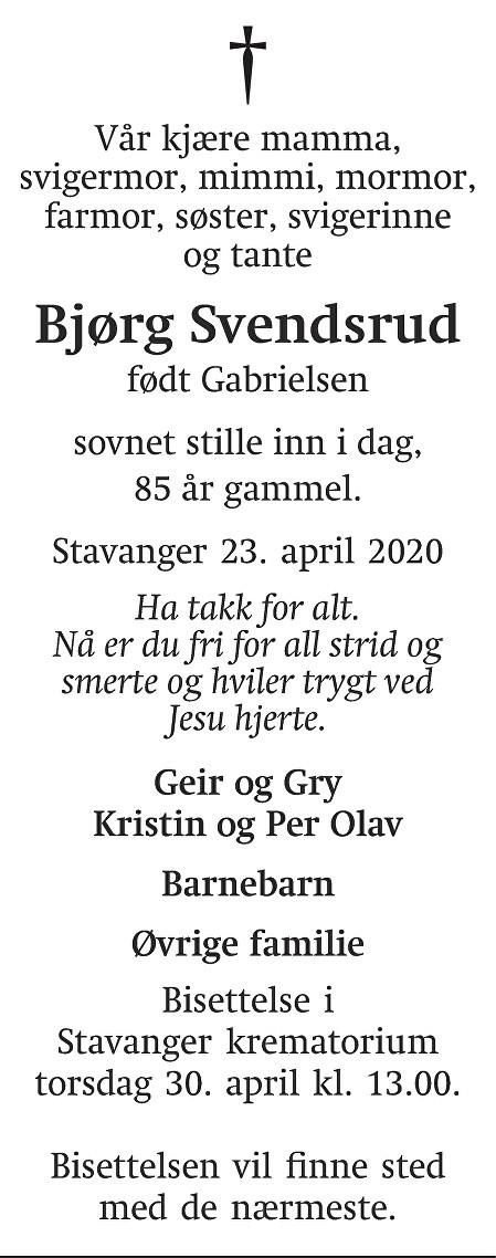 Bjørg Svendsrud Dødsannonse