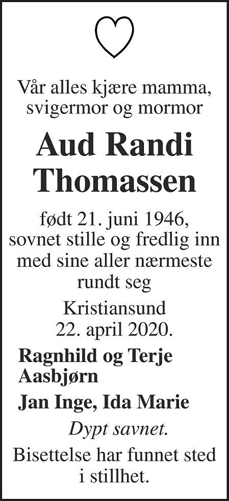 Aud Randi Thomassen Dødsannonse