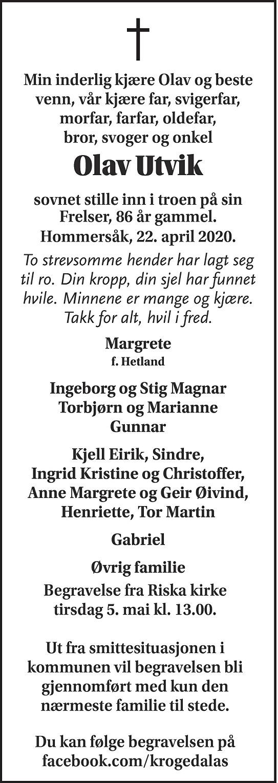 Olav Utvik Dødsannonse
