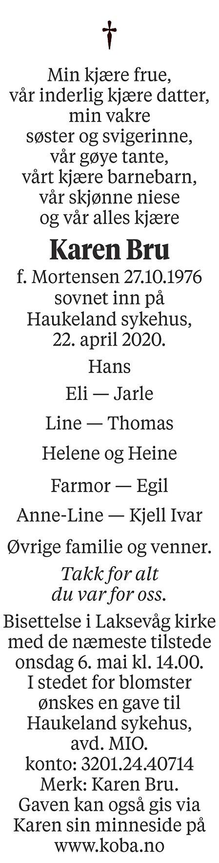 Karen Bru Dødsannonse