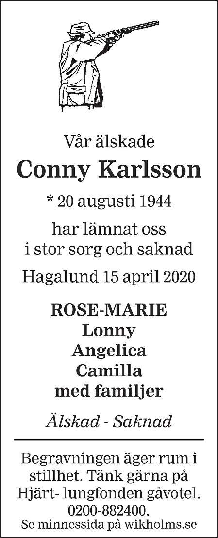 Conny Karlsson Death notice