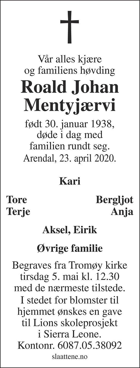 Roald Johan Mentyjærvi Dødsannonse