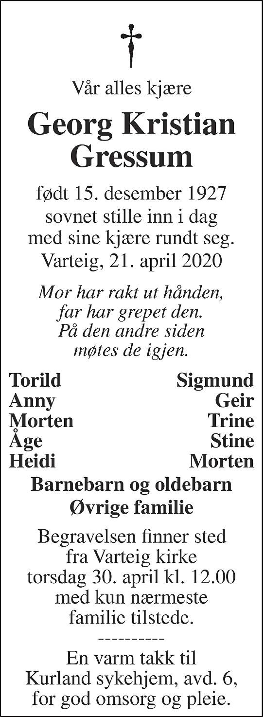 Georg Kristian Gressum Dødsannonse