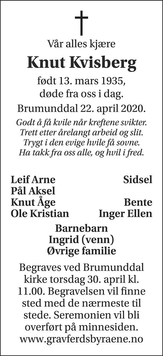 Knut Kvisberg Dødsannonse
