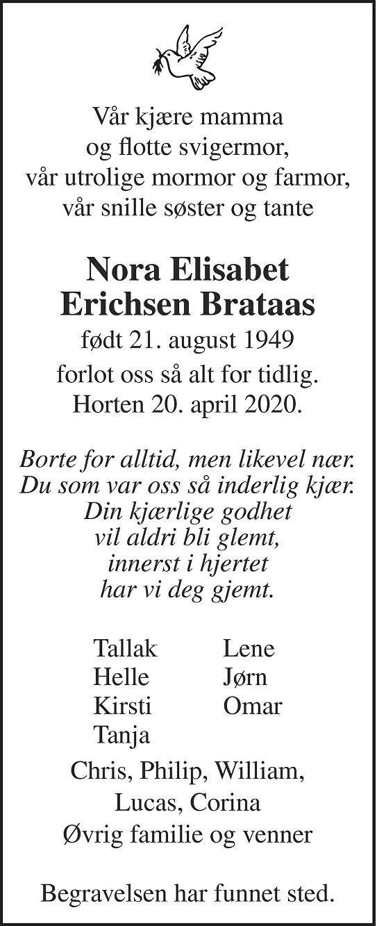 Nora Elisabet Erichsen Brataas Dødsannonse
