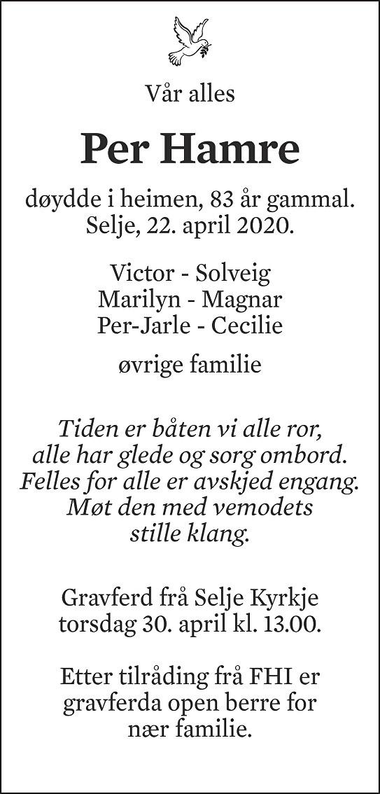 Per Hamre Dødsannonse