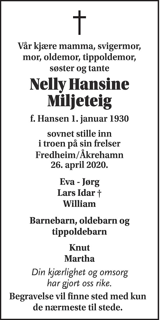 Nelly Hansine Miljeteig Dødsannonse