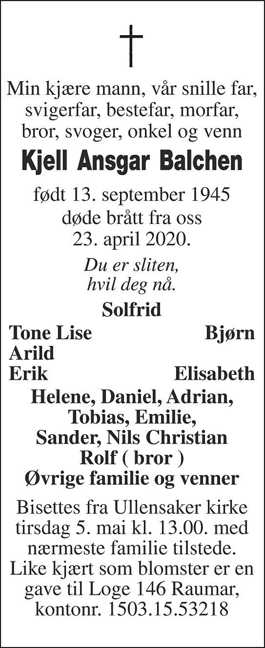 Kjell Ansgar Balchen Dødsannonse