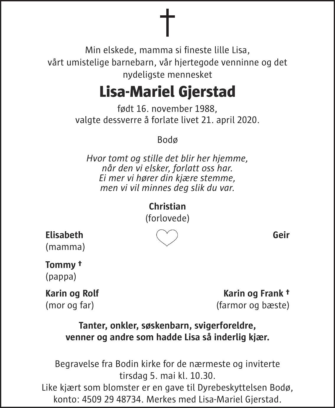 Lisa-Mariel Gjerstad Dødsannonse