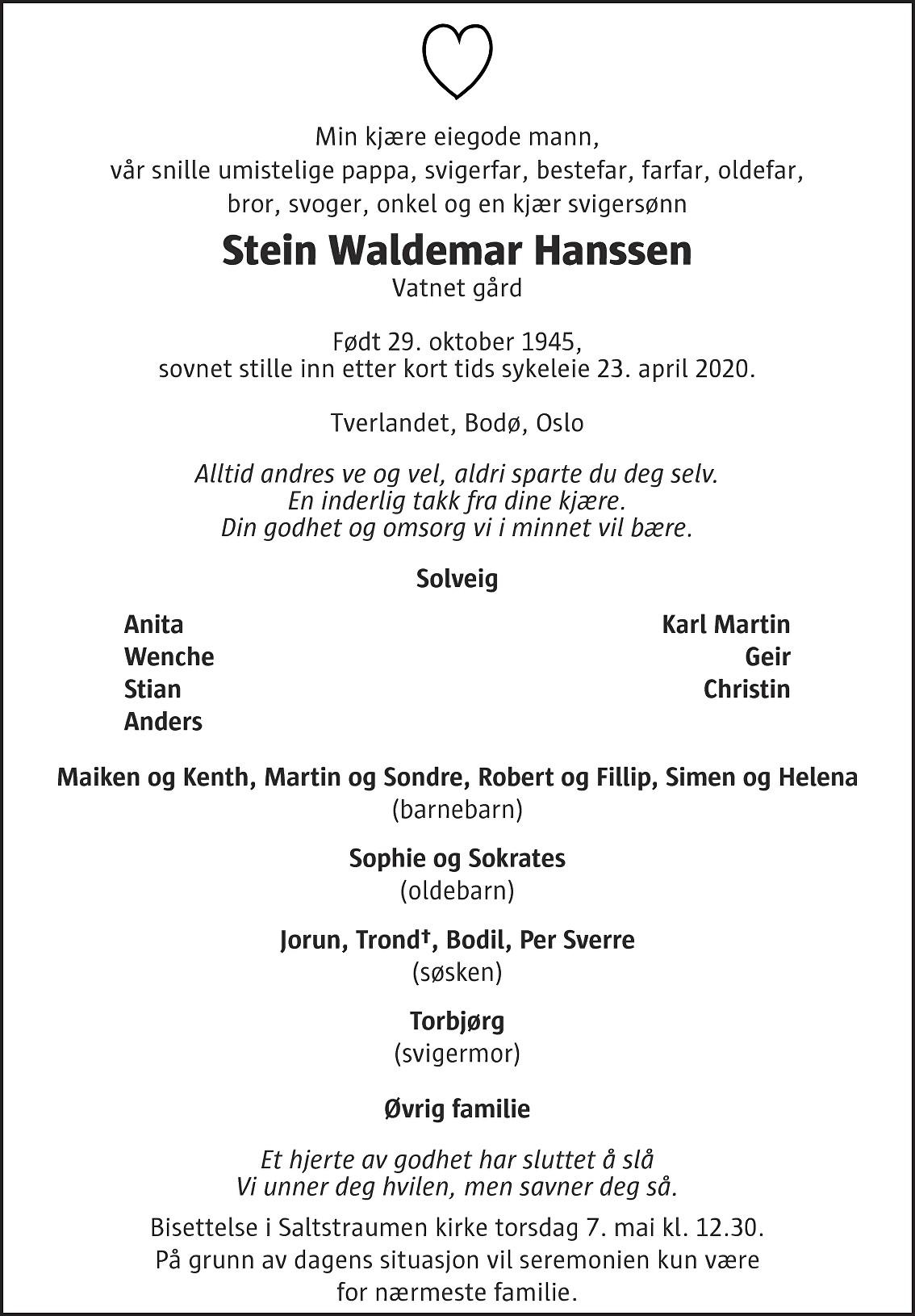 Stein Waldemar Hanssen Dødsannonse
