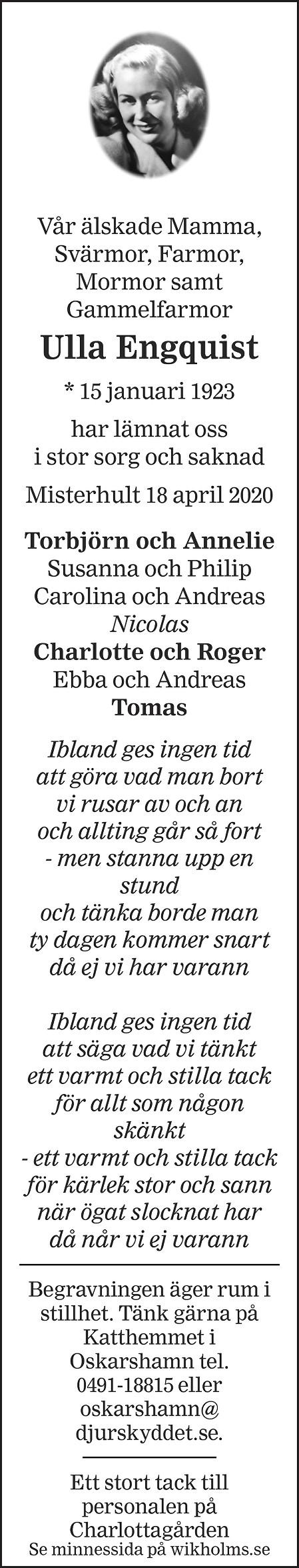 Ulla Engquist Death notice
