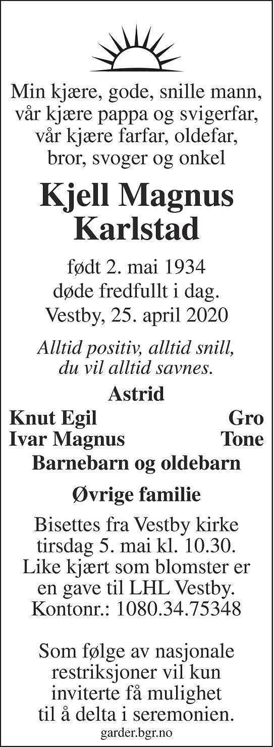Kjell Magnus Karlstad Dødsannonse