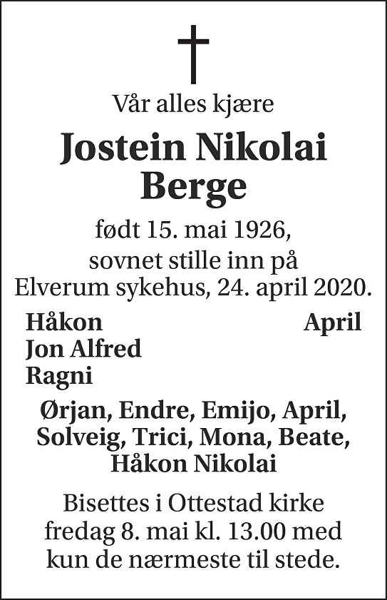 Jostein Nikolai Berge Dødsannonse