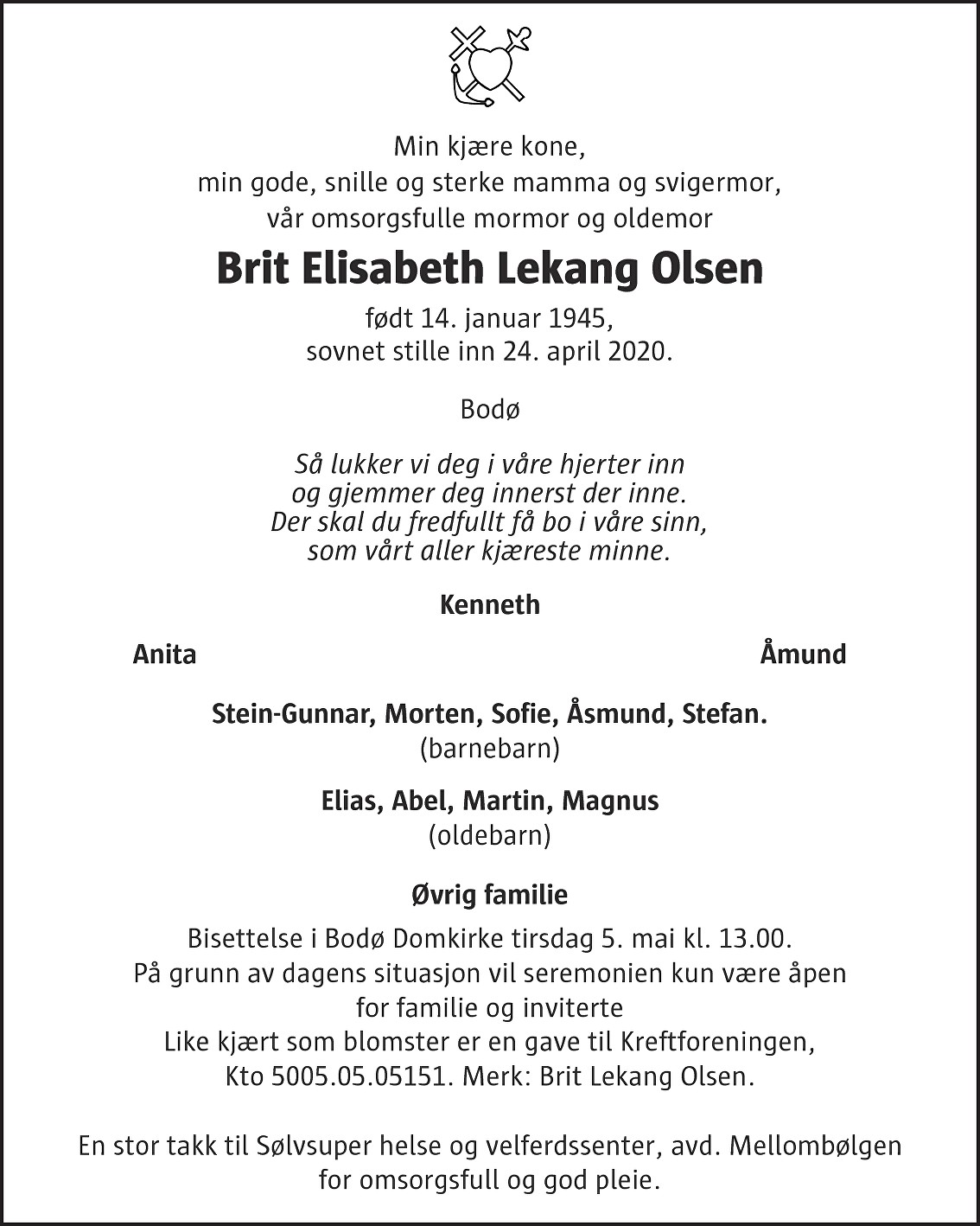 Brit Elisabeth Lekang Olsen Dødsannonse