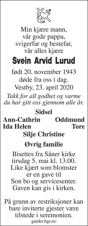 Svein Arvid Lurud Dødsannonse
