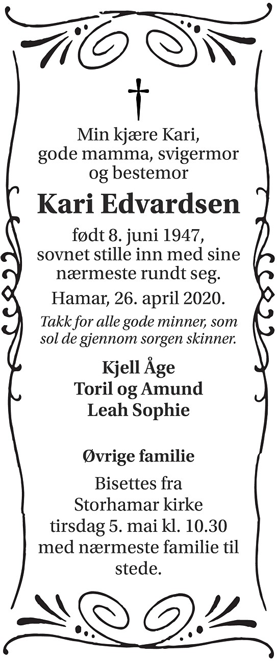 Kari Edvardsen Dødsannonse