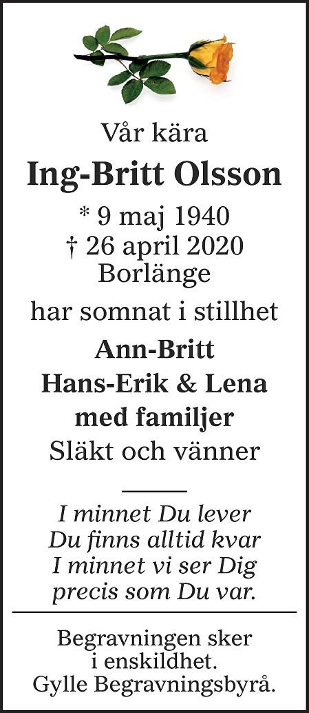 Ing-Britt Olsson Death notice