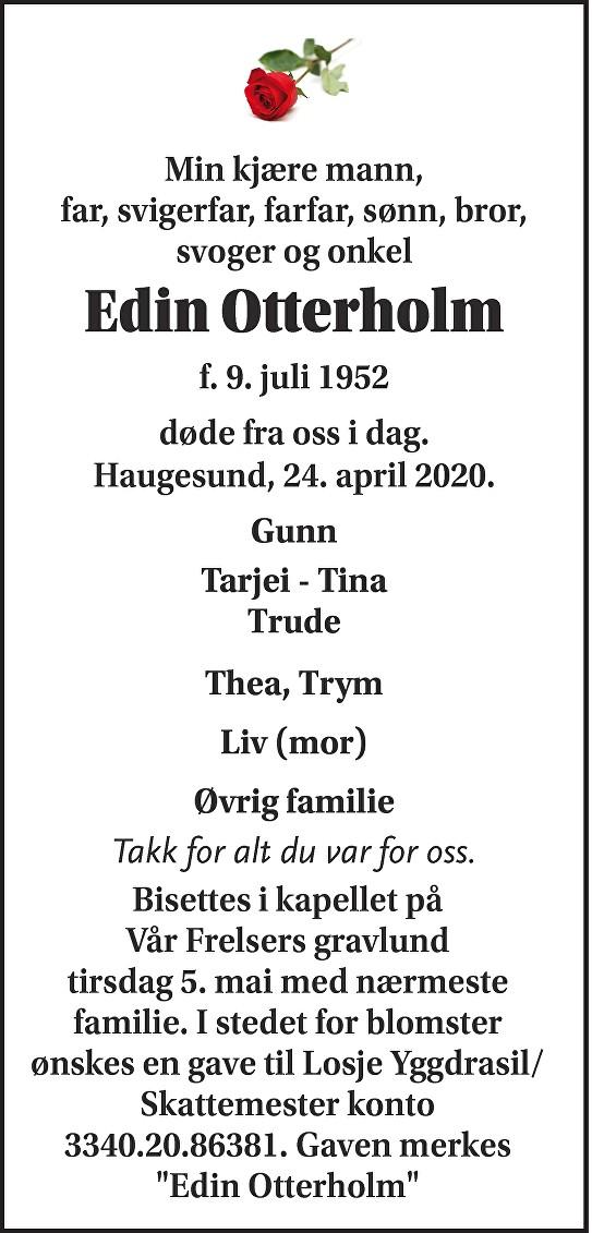 Edin Otterholm Dødsannonse
