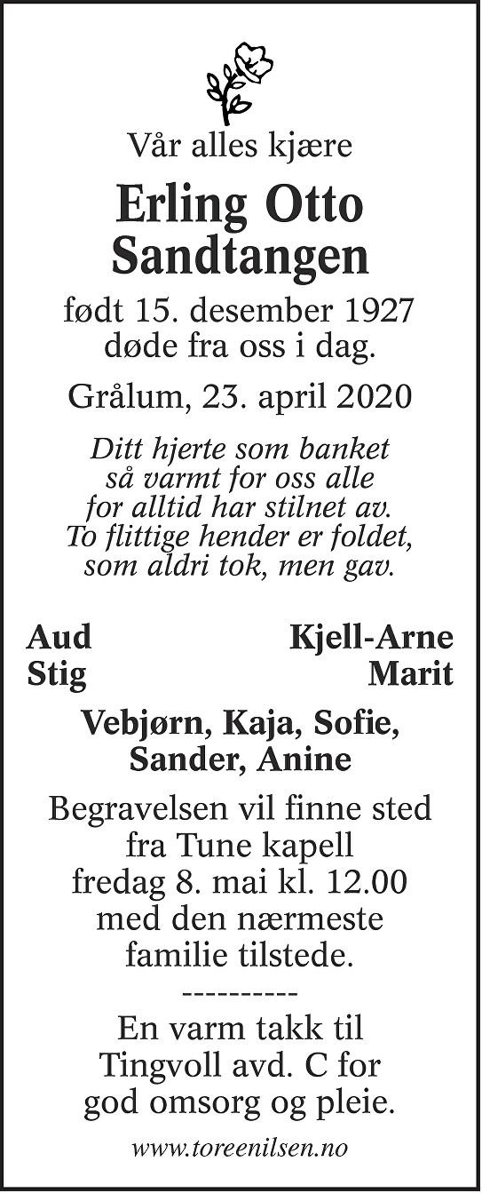 Erling Otto Sandtangen Dødsannonse