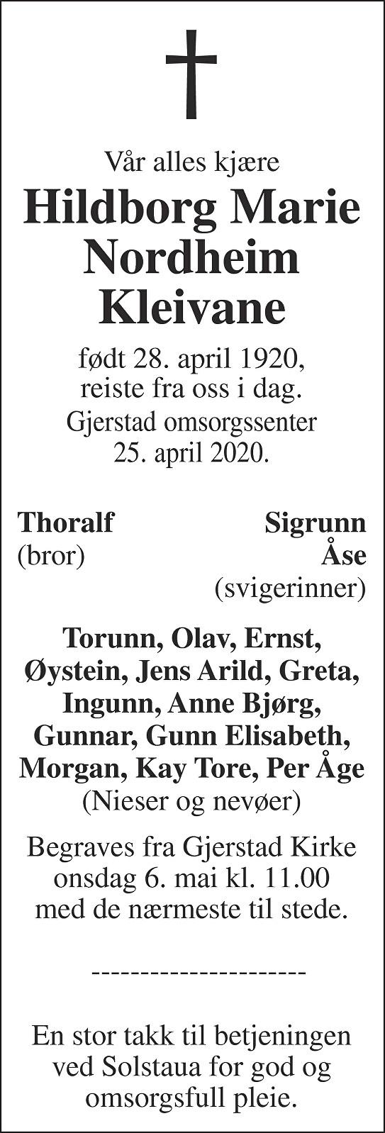 Hildborg Marie Nordheim Kleivane Dødsannonse