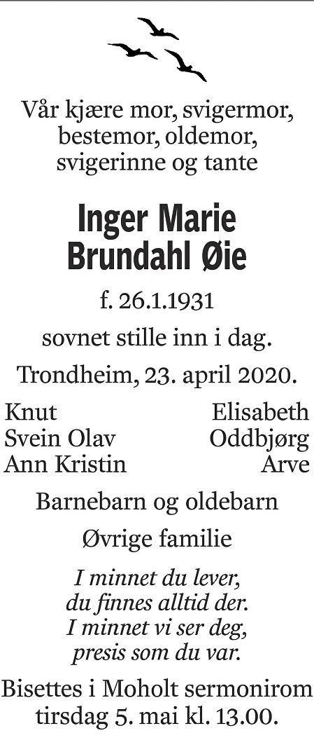 Inger Marie Brundahl Øie Dødsannonse