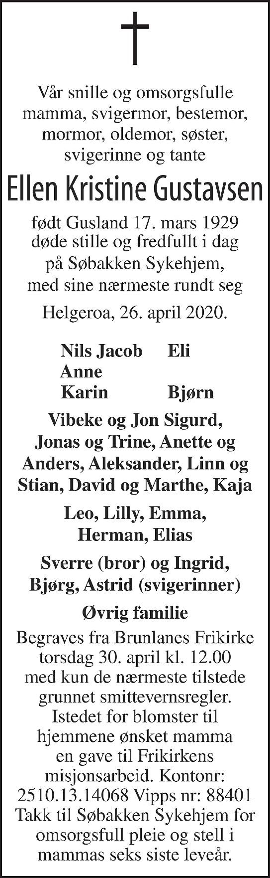 Ellen K. Gustavsen Dødsannonse