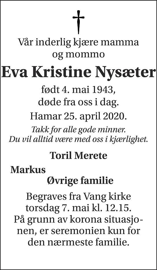 Eva Kristine Nysæter Dødsannonse