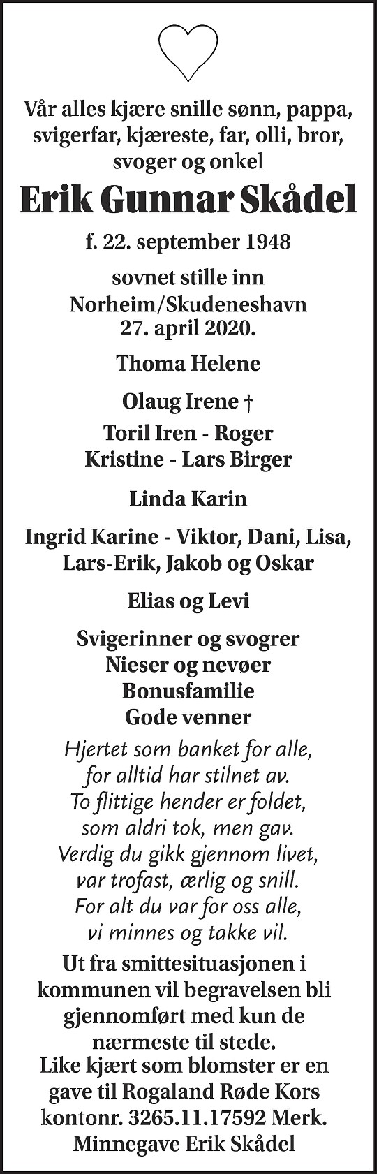 Erik Gunnar Skådel Dødsannonse