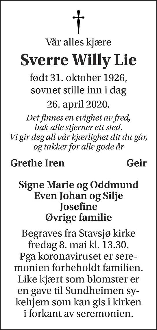 Sverre Willy Lie Dødsannonse