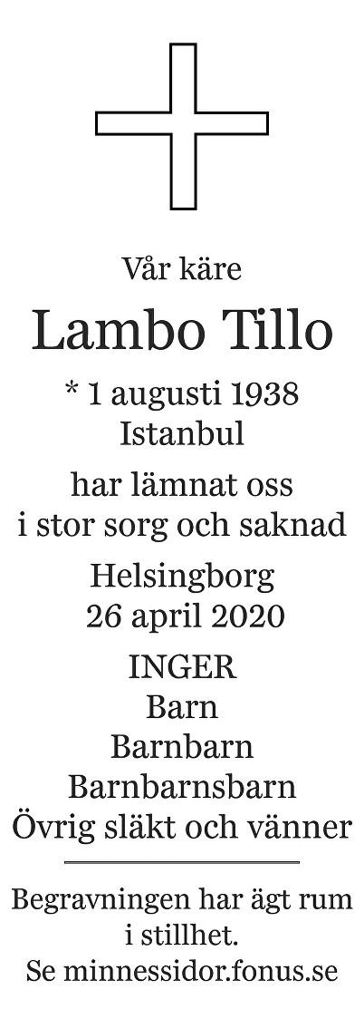 Lambo Tillo Death notice